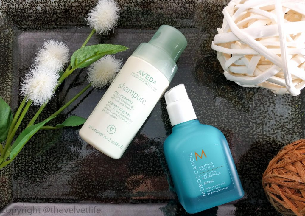 Morocconoil Mending Infusion and Aveda Shampure Dry Shampoo