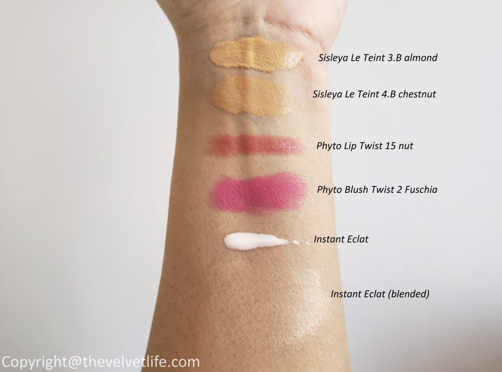Sisleÿa Le Teint Anti-aging foundation, Instant Eclat, Phyto-Blush Twist, and Phyto-Lip Twist