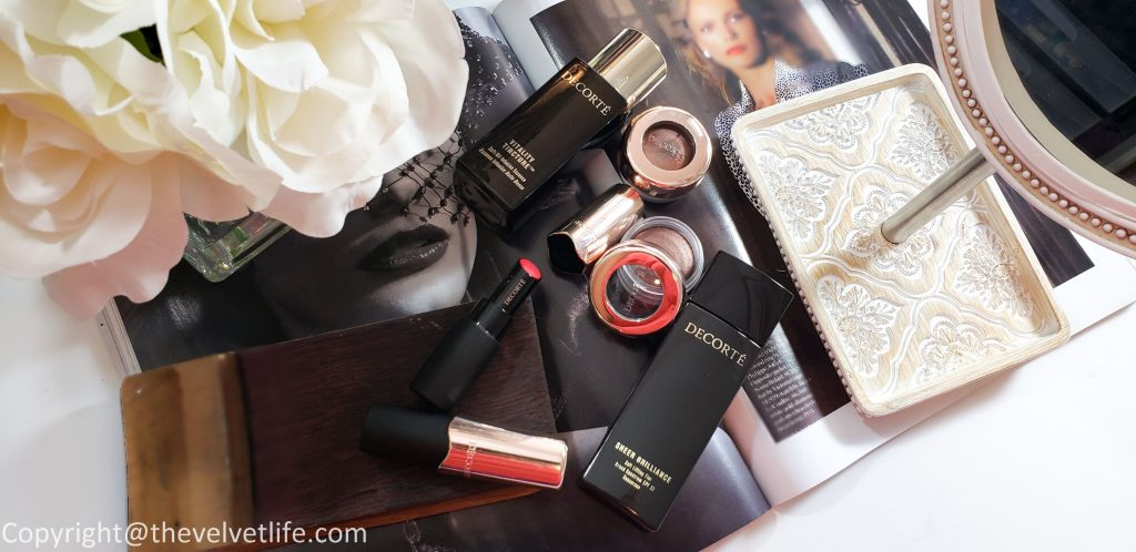 Eye Glow Gem eyeshadows, The Rouge Lipstick, and Decorte Sheer Brilliance