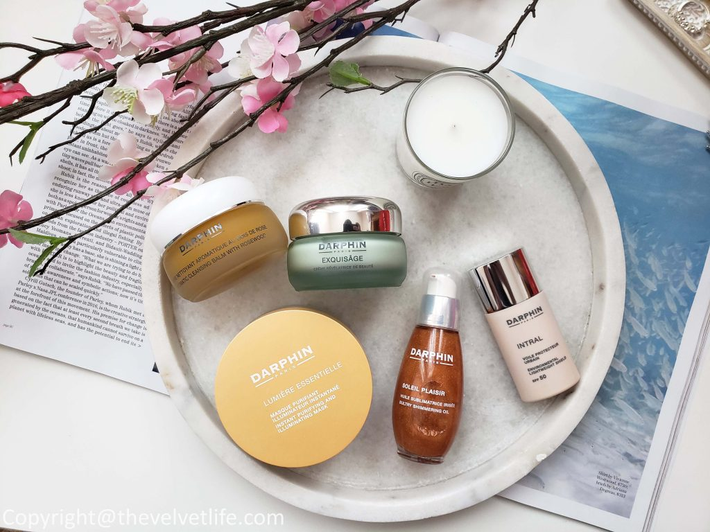 Darphin Aromatic Cleansing Balm with Rosewood,  Darphin Lumière Essentielle Instant Purifying & Illuminating Mask,  Darphin Exquisâge Beauty Revealing Cream,  Darphin Intral Environmental Lightweight Shield Broad Spectrum SPF50 Darphin Soleil Plaisir Sultry Shimmering Oil
