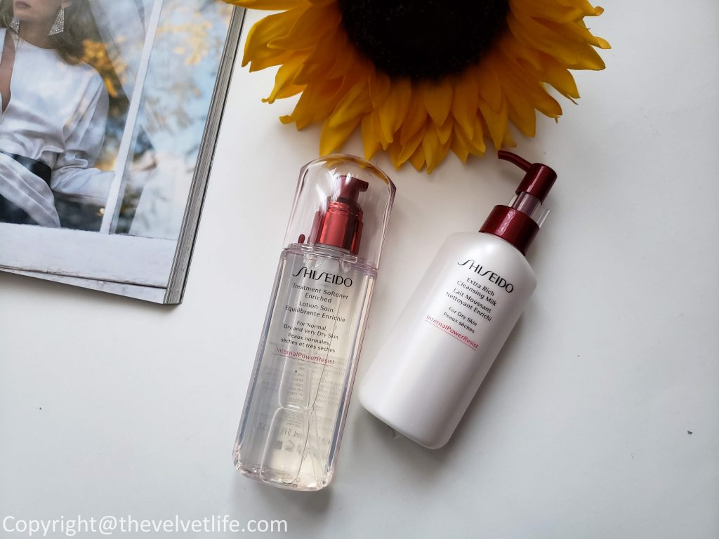 Shiseido Ultimune Power Infusing Concentrate, Shiseido Essential Energy Day Cream SPF 20, Shiseido Deep Cleansing Foam, Shiseido Clarifying Cleansing Foam, Shiseido Extra Rich Cleansing Milk, Shiseido Treatment Softner, and Shiseido Treatment Softner Enriched