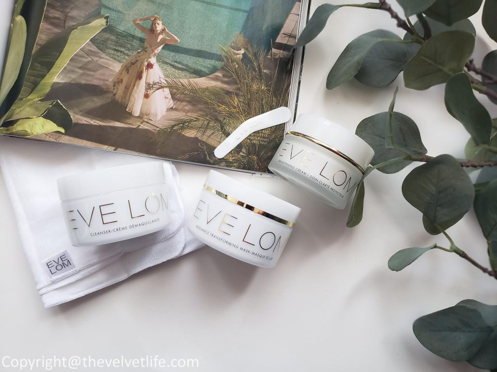 Eve Lom Radiance Transforming Mask, Eve Lom Brightening Cream, and Eve Lom Original Cleanser