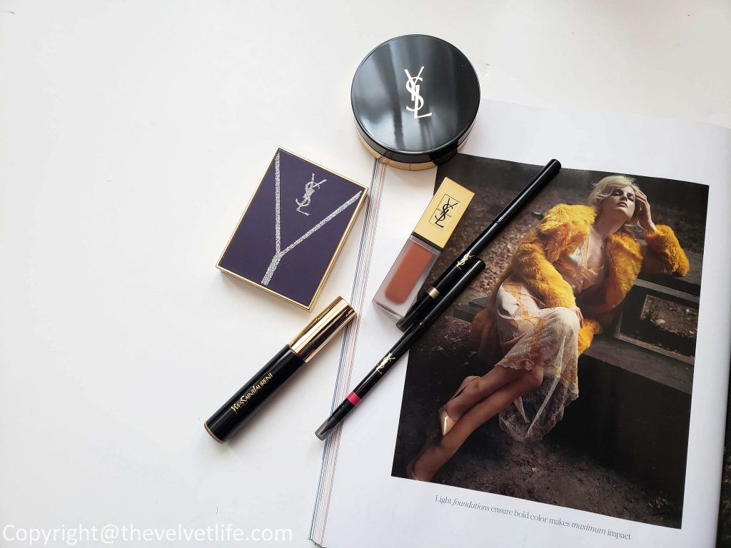 Yves Saint Laurent Le Compact Encre de Peau, Couture Palette Collector Yconic Purple, All Hours Concealer Encre de Peau, Dessin Des Levres, Tatouage Couture Metallics review swatches
