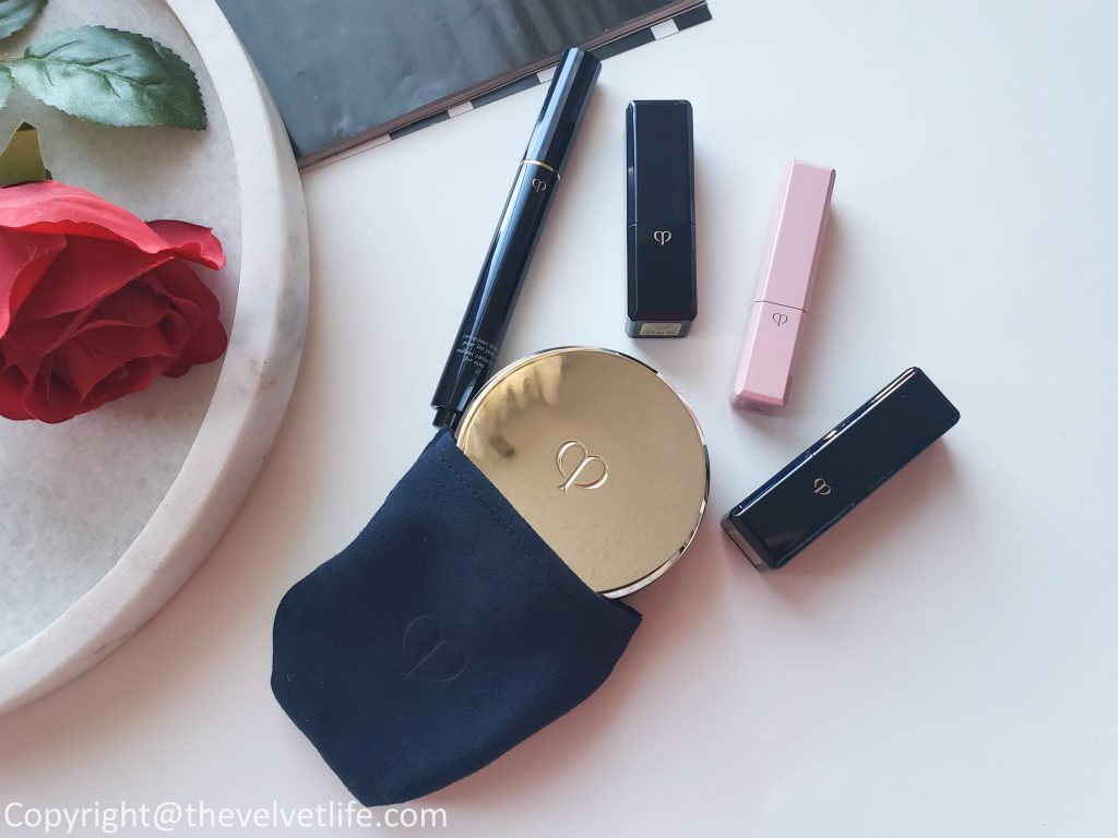 Cle de Peau Beaute Radiant Cushion Foundation, Radiant Corrector for Eyes, Lip Glorifier, Lipstick Cashmere