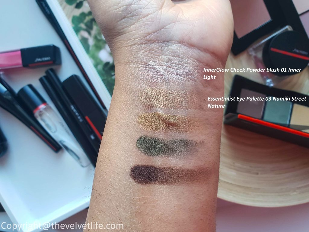 New Shiseido Makeup Collection review swatches InnerGlow Cheek Powder and Minimalist Whipped Powder Blush, Essentialist Eye Palette, Kajal InkArtist, LacquerInk LipShine, VisionAiry Gel Lipstick, and Crystal GelGloss, Hasu Fude Foundation Brush, Daiya Fude Face Duo, and Yane Hake Precision Eye Brush