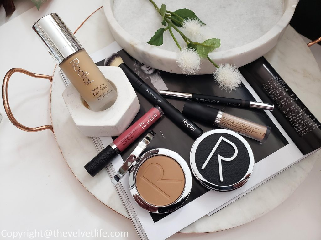 Rodial Diamond foundation, Microblade Eyebrow Effect Pencil, and Bronze-Tour Powder