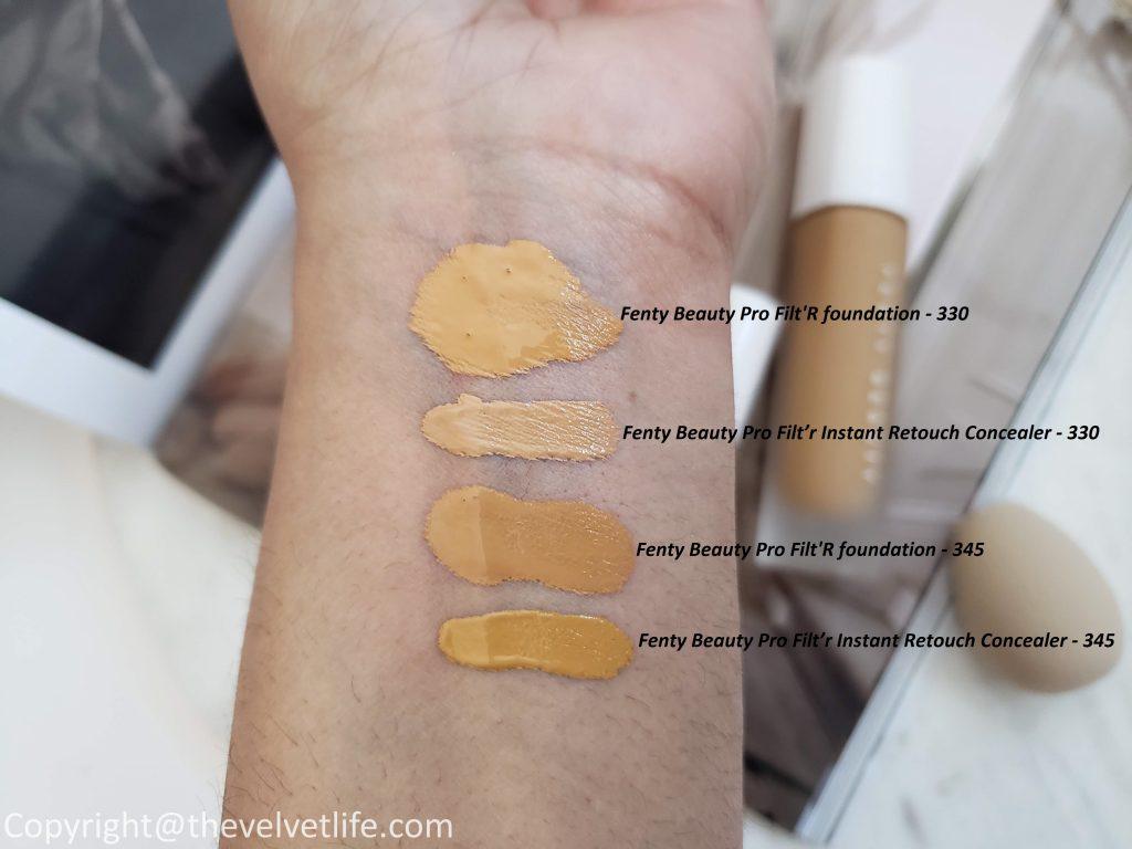 Fenty Beauty Pro Filt'R foundation, Pro Filt'r Instant Retouch Concealer, Pro Filt'r Instant Retouch Primer, Precision Makeup Sponge