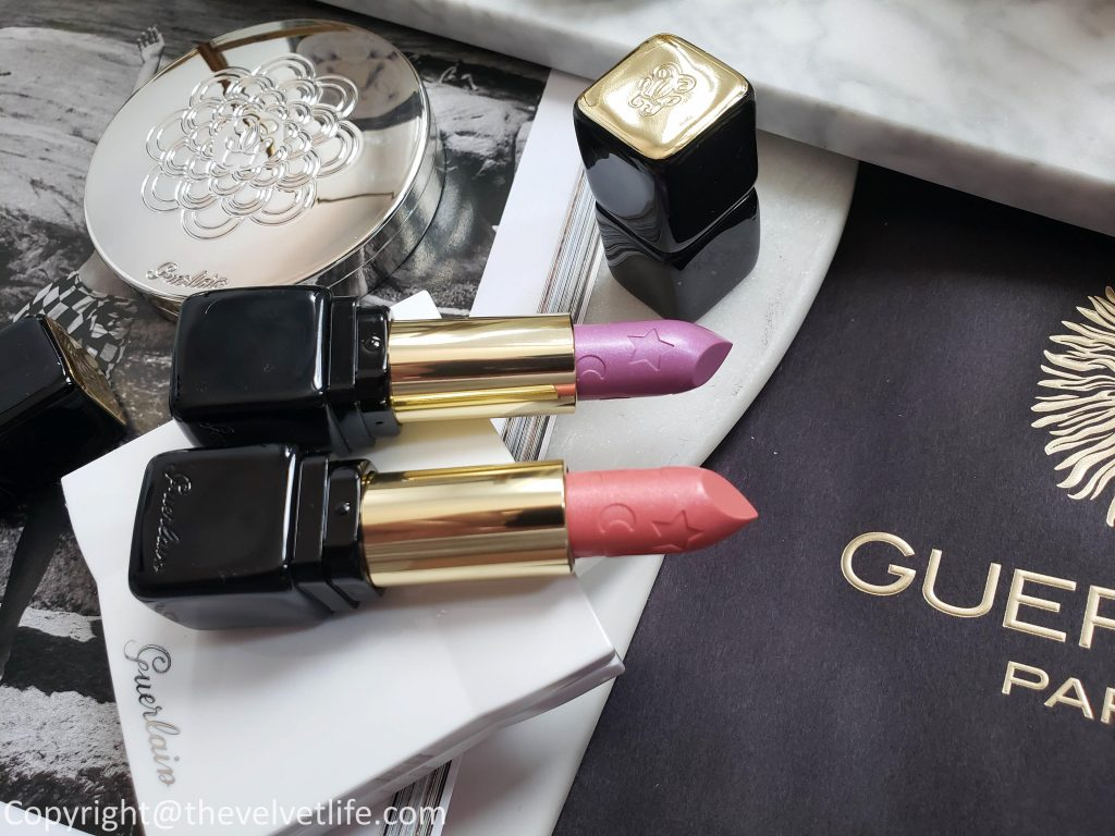 Guerlain Spring 2019 Collection Morning Love review and swatches Guerlain Météorites Highlighter Duo, Guerlain KissKiss, Meteorites Pressed powder