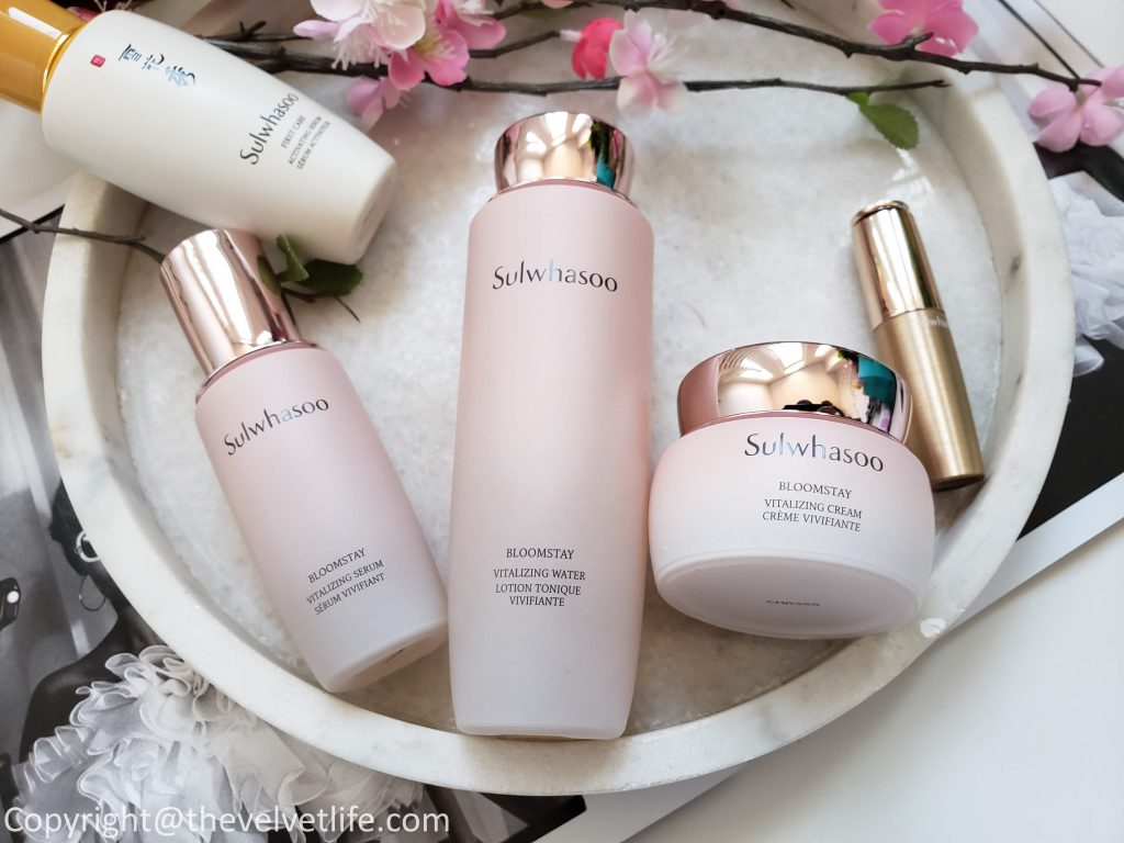 Sulwhasoo Bloomstay Vitalizing Water, Bloomstay Vitalizing Serum, and Bloomstay Vitalizing Cream, Essential Lip Serum stick