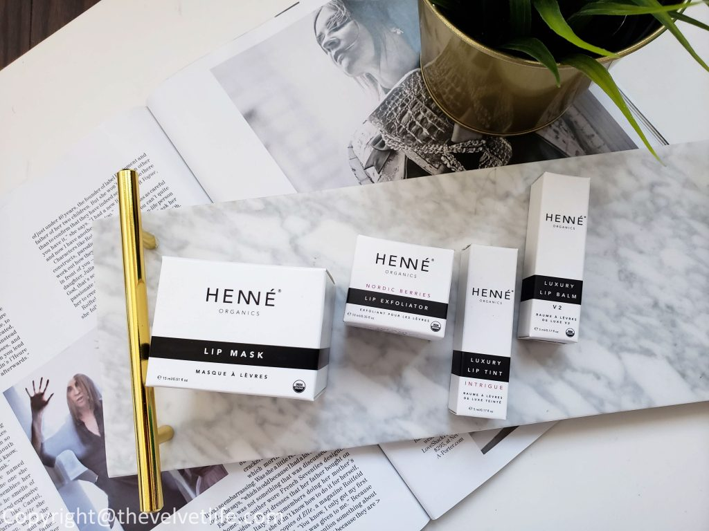 Henné Organics Lip Mask, Henné Organics Nordic Berries Lip Exfoliator, Luxury Lip Tint Intrigue, Luxury Lip Balm