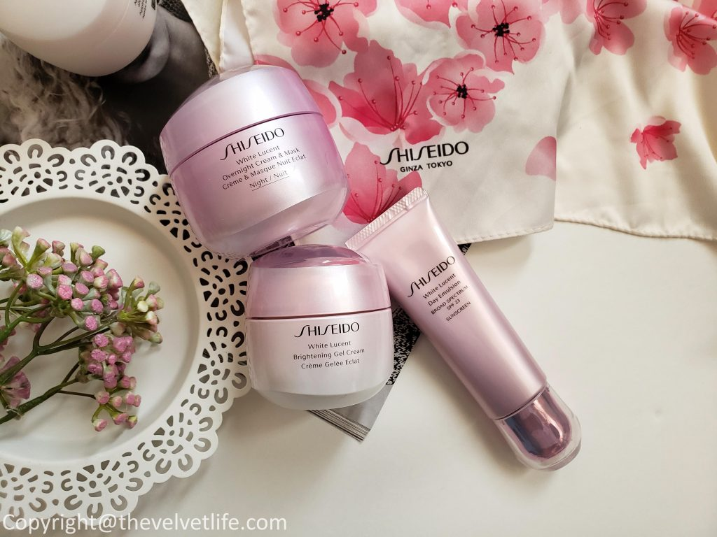 new Shiseido White Lucent Brightening Gel Cream, White Lucent Overnight Cream and Mask, and White Lucent Brightening Day Emulsion