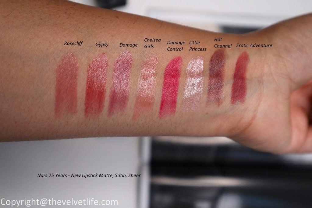 New Nars 25 Years Lipstick Matte, Satin, Sheer review and swatches of Boukhara, Tolede, Fast Ride, Living Doll, Belle De Jour, Cool It, Fire Down Below, Shrinagar, Erotic Adventure, Hot Channel, Little Princess, Damage Control, Chelsea Girls, Damage, Gipsy, Rosecliff