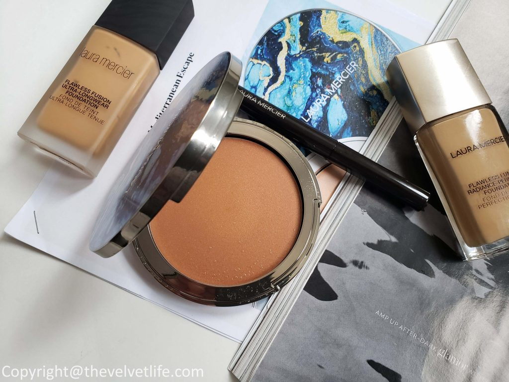 Laura Mercier new Mediterranean Escape Collection -Sun-Kissed Veil Riviera Sun Bronzer, caviar eye stick, Rouge Essential Silky Crème Lipstick, Longwear Lip Liner review and swatches for summer Color edit 2019 launches
