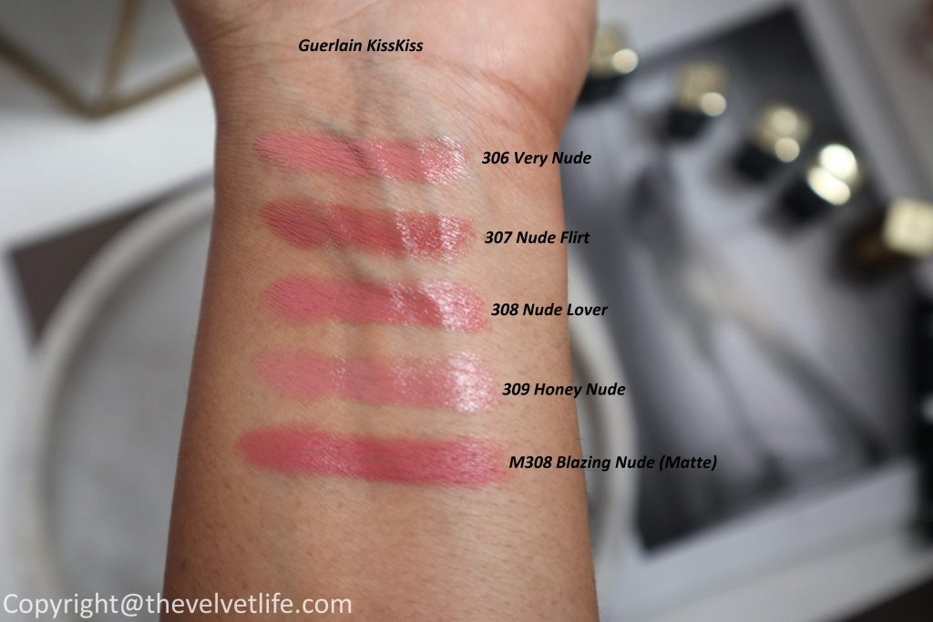 Guerlain new matte and satin KISSKISS lipsticks review swatches in shades 306 Very nude, 307 nude flirt, 308 nude lover, m308 blazing nude, 309 honey nude