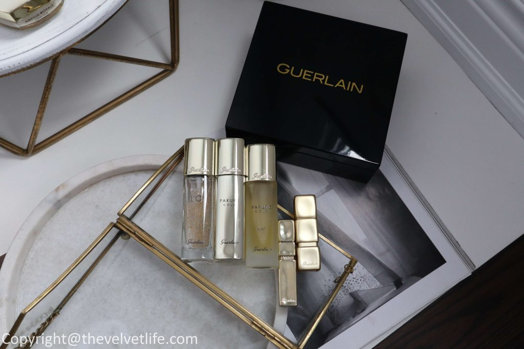 New Guerlain Parure Gold Foundation review swatches, Parure Gold Mist, L'Or Primer, KissKiss Matte Lipstick Blazing Nude, KissKiss LipLift