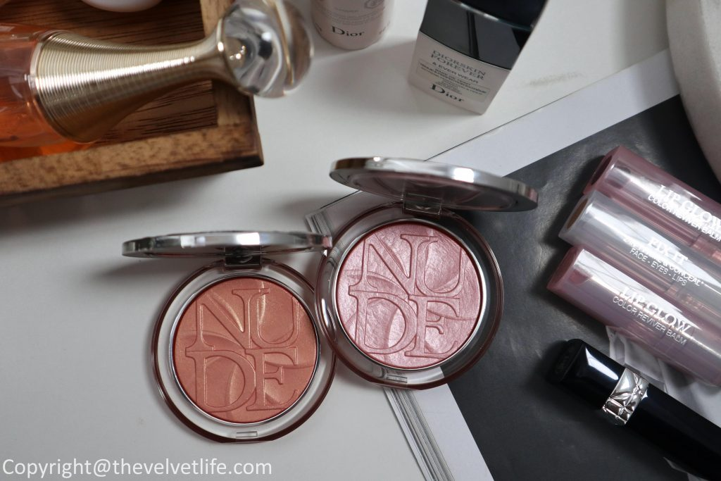Dior Diorskin Nude Luminizer Lolli'Glow powder review swatches of shades 007 Peach Delight and 008 Pink Delight, Rouge Dior Couture Colour Lipstick 646