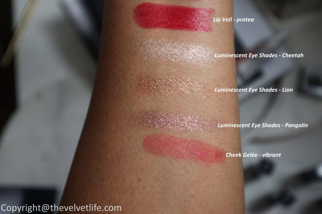 Review and swatches New Chantecaille Luminescent Eye Shades - pangolin, cheetah, lion, Lip Veil protea, azalea, rock rose, tamboti, baobab, Shade and Sweep eye brush and Cheek Gelée vibrant