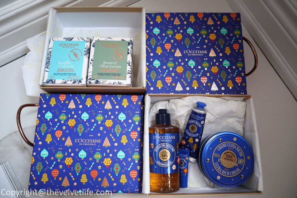Loccitane Holiday 2019 new launches and gift sets has holiday ornaments, harmonious candle duo, Shea butter dreams, holiday hand cream trio, bouquet