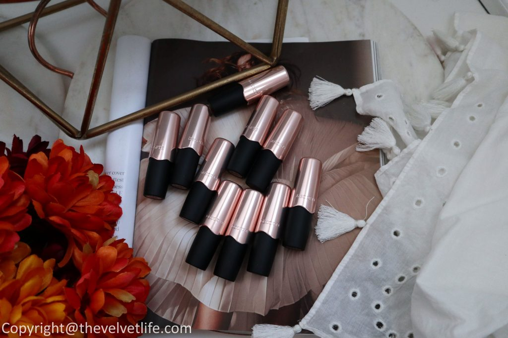 Decorte The Rouge - Velvet lipstick new launch review and swatches of shade BR300,BR301,BR302,RD400,RD401,RD402,RD403,RO600,PK800,BE801