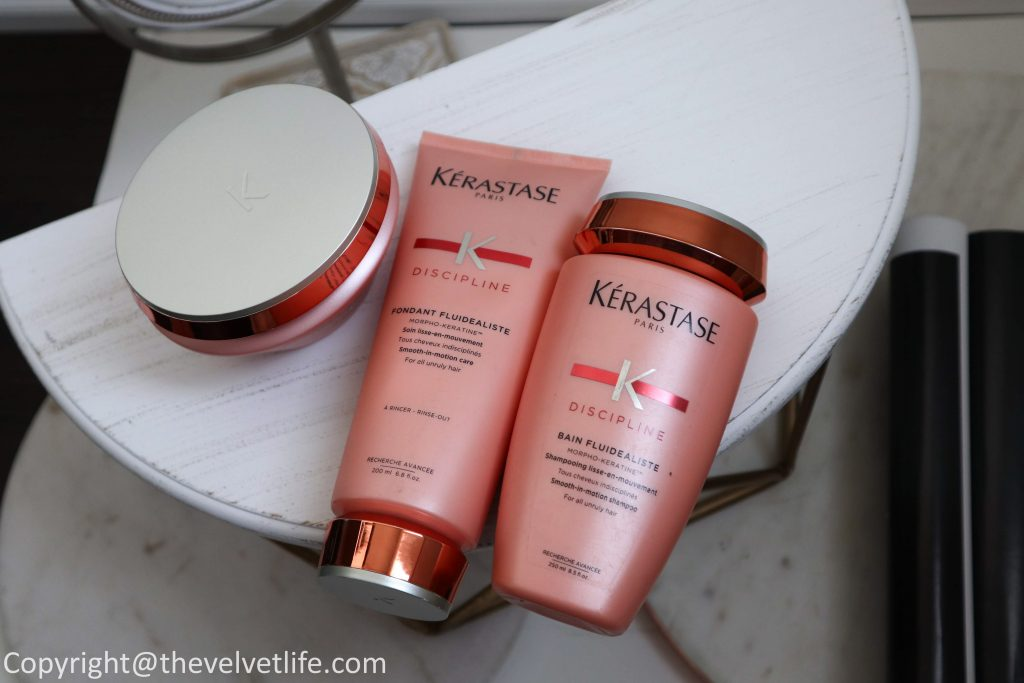 Kerastase Discipline range review of Bain Fluidealiste Curl Shampoo, Fondant Fluidealiste Curl Conditioner, and Maskeratine Hair Mask