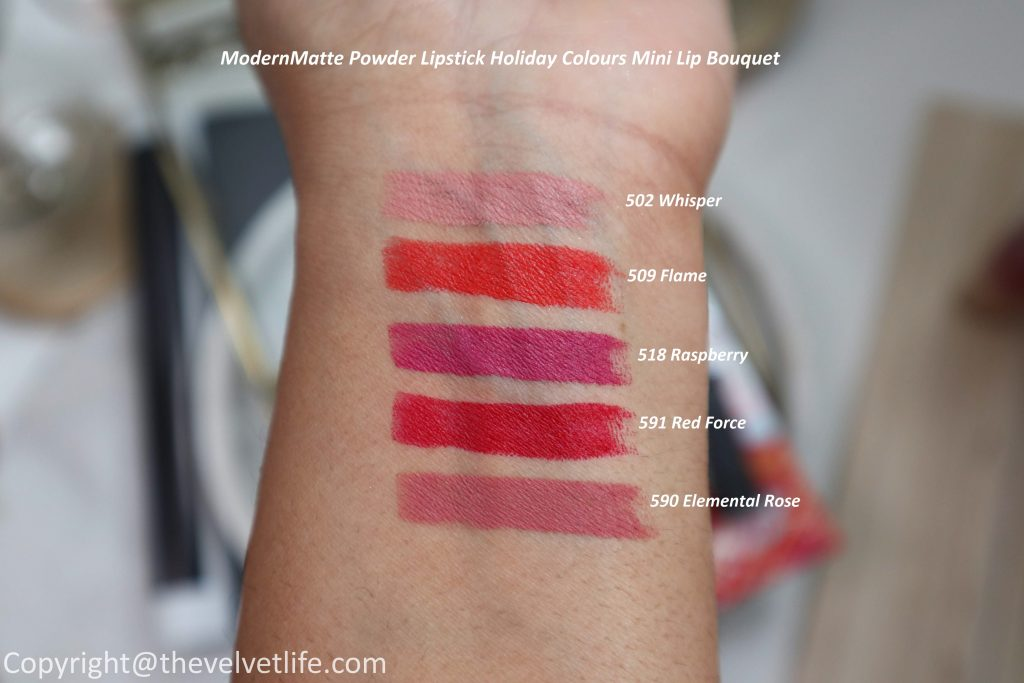 Shiseido Holiday 2019 Collection Beauty Blossoms review swatches ModernMatte Powder Lipstick Holiday Colours Mini Lip Bouquet 502 Whisper, 518 Selfie, 509 Flame, 591 Red Force, 590 Elemental Rose