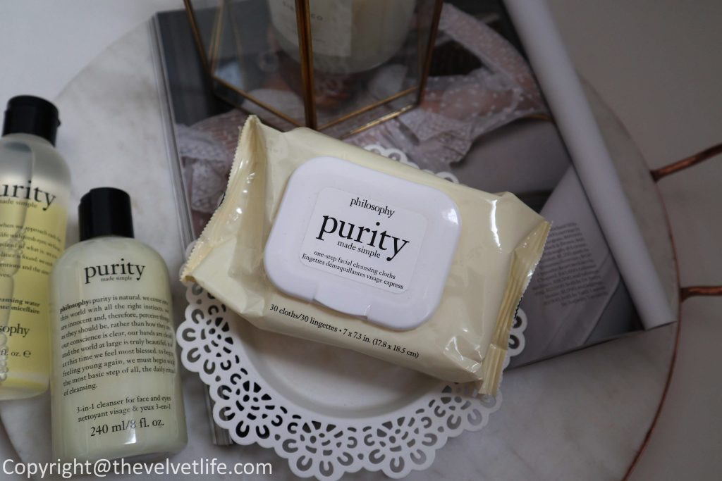 Review of Philosophy skincare Purity Made Simple range - micellar cleansing water, one-step facial cleanser, one-step facial cleansing wipes