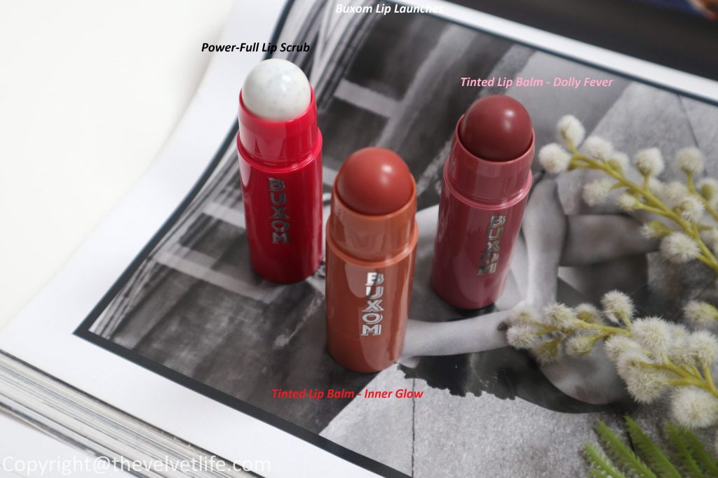 review of Buxom Power-Full Lip Scrub and tinted lip balm with swatches
