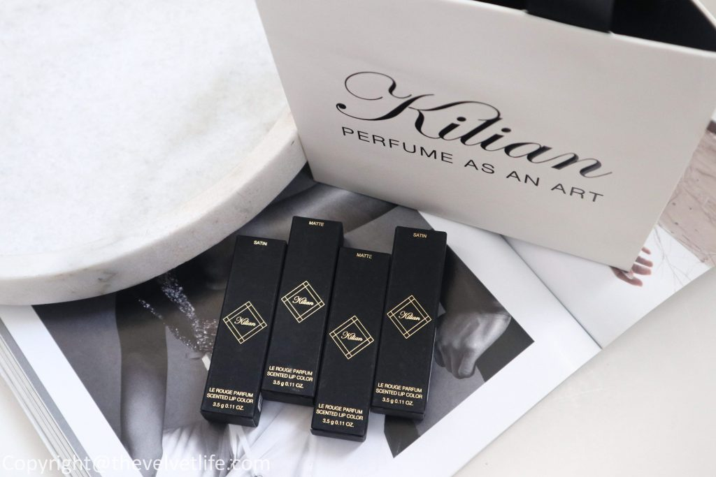 Kilian Le Rouge Parfum Lipstick review swatches of new Dangerous, Intoxicating, Prohibited, Devil Rouge