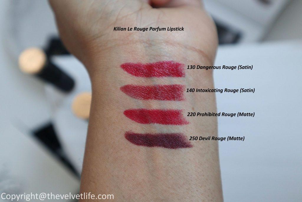 Kilian Le Rouge Parfum Lipstick review swatches of new Dangerous, Intoxicating, Prohibited, Devil Rouge