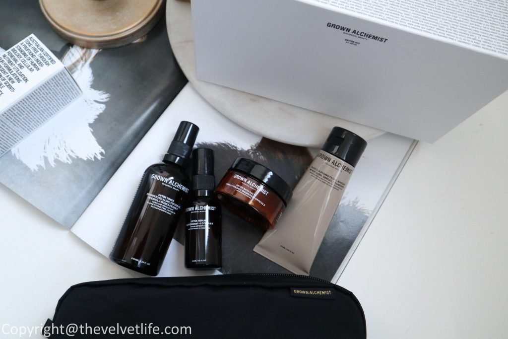 New Grown Alchemist Detox Kit review of Deep Cleansing Facial Masque, Detox Toner, Detox Serum, Detox Bath Salts