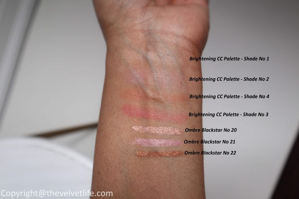 By Terry Summer 2020 Collection review swatches of Brightening CC Palette in Sunny Flash, Ombre Blackstar Cream Eyeshadow Pens, Bause de Rose Glowing Mask, Baume de Rose Hydrating Sheet Mask