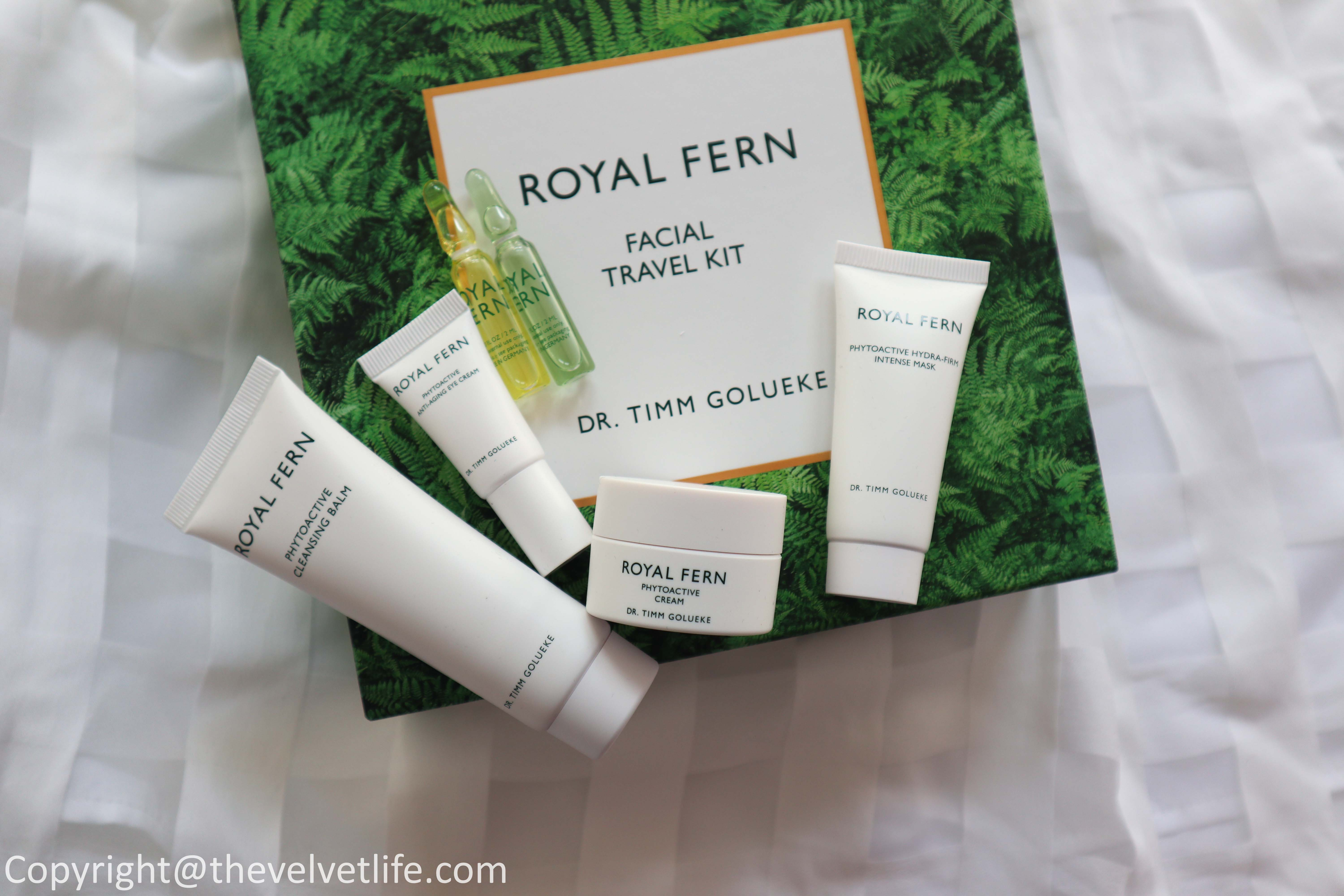 Review of the Royal Fern Facial Travel Kit which includes the Phytoactive cleansing balm, hydra-firm intense mask, anti-aging eye cream, ampoule