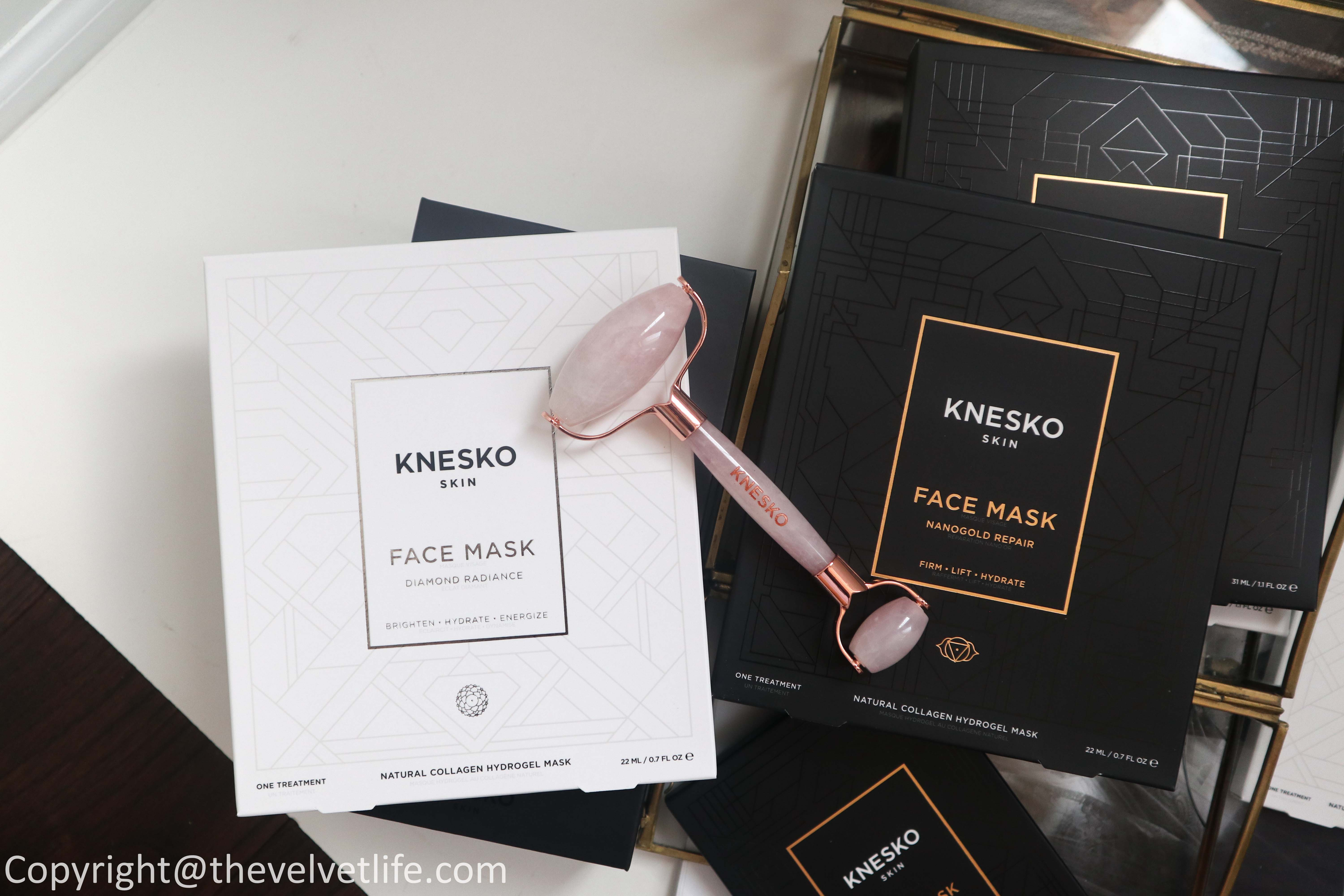 Review of new Knesko Diamond Radiance Mask Collection, Nano Gold Collagen Mask Repair Collection, rose quartz gemstone roller