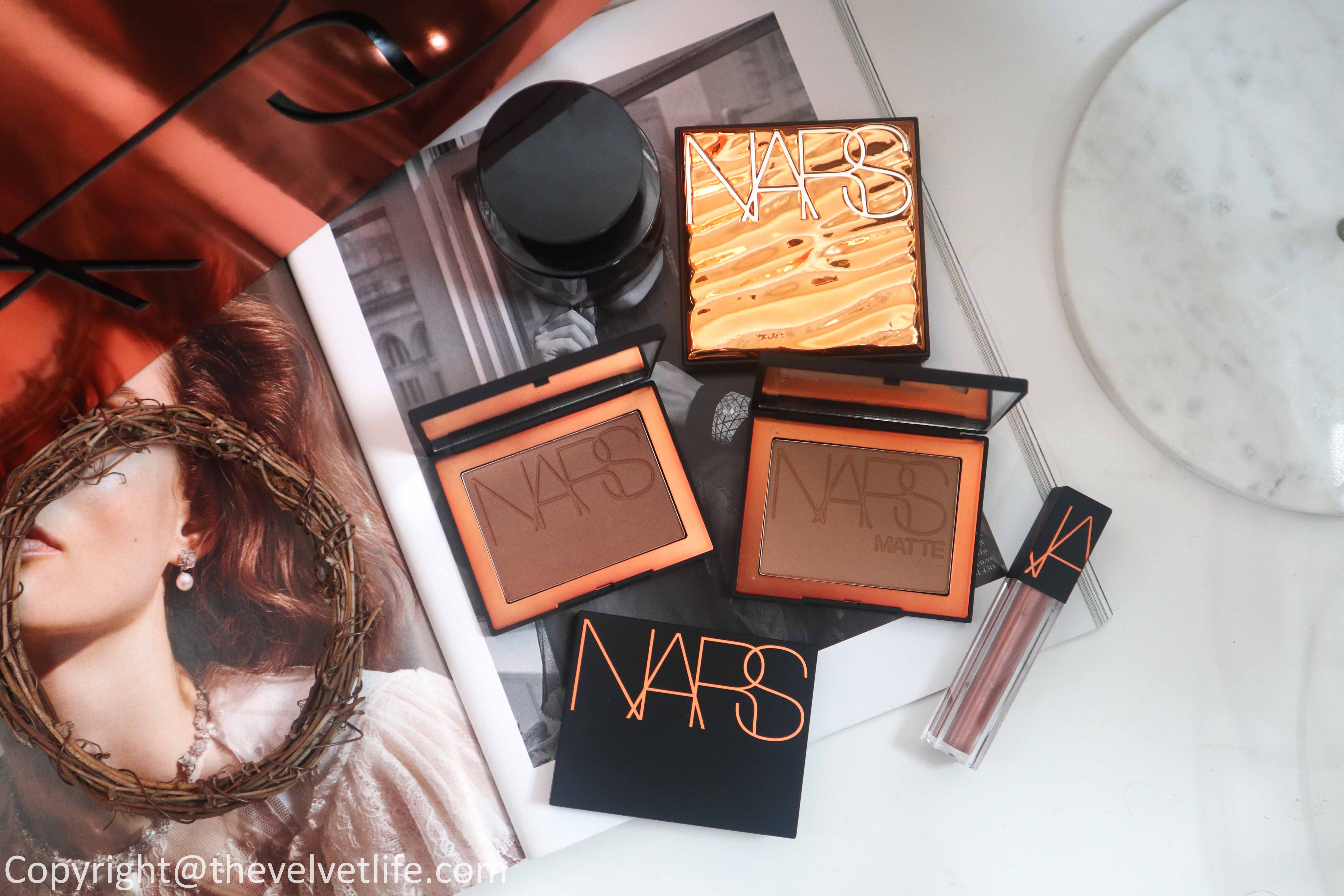 New Nars The Bronzing Collection review swatches Bronzing Powder, Matte Bronzing Powder, Paradise Found Bronzing Powder, and Oil-Infused Lip Tints