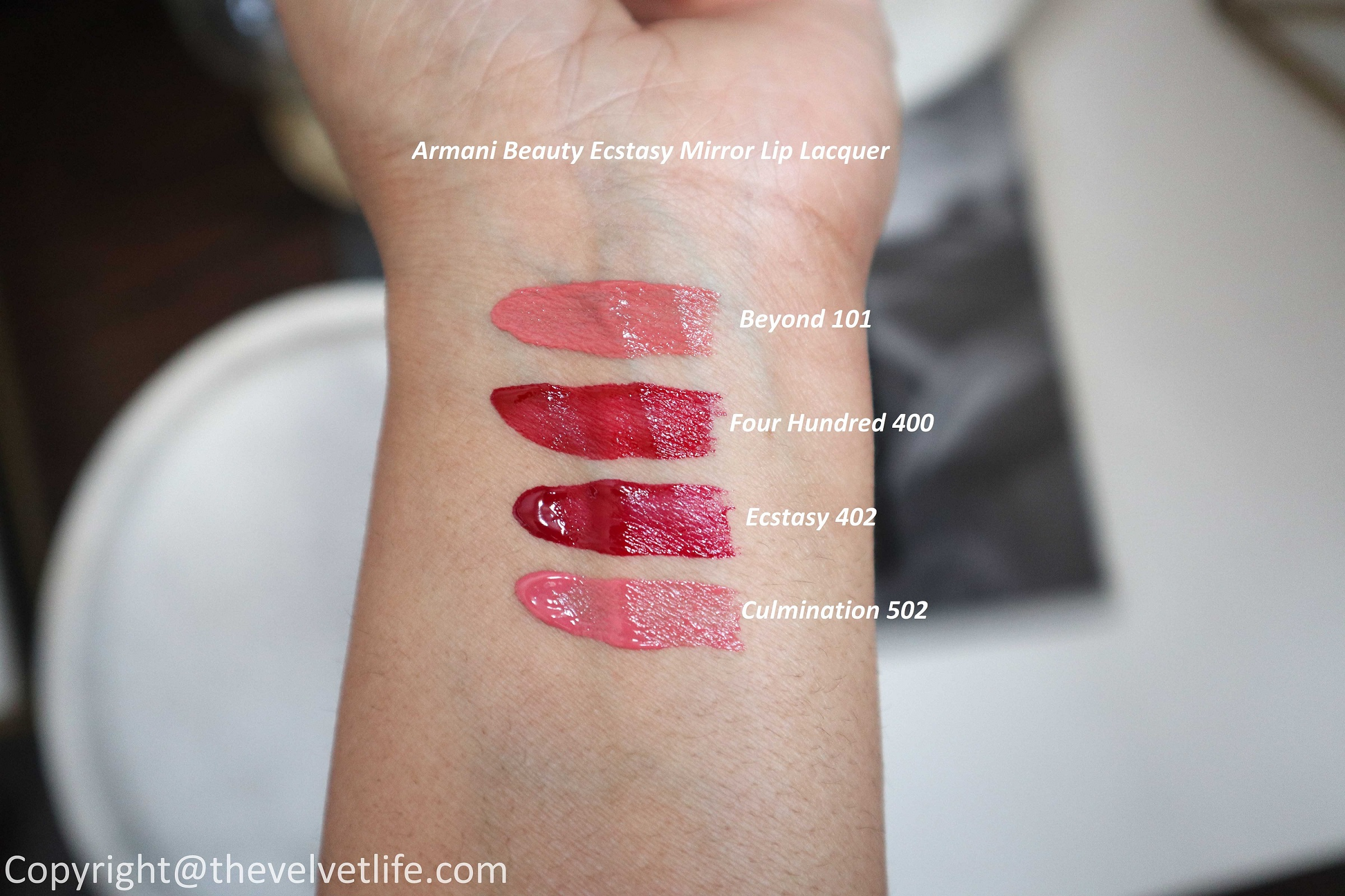 New Armani Beauty Ecstasy Mirror Lip Lacquer review and swatches of shades 101, 400, 402, and 502