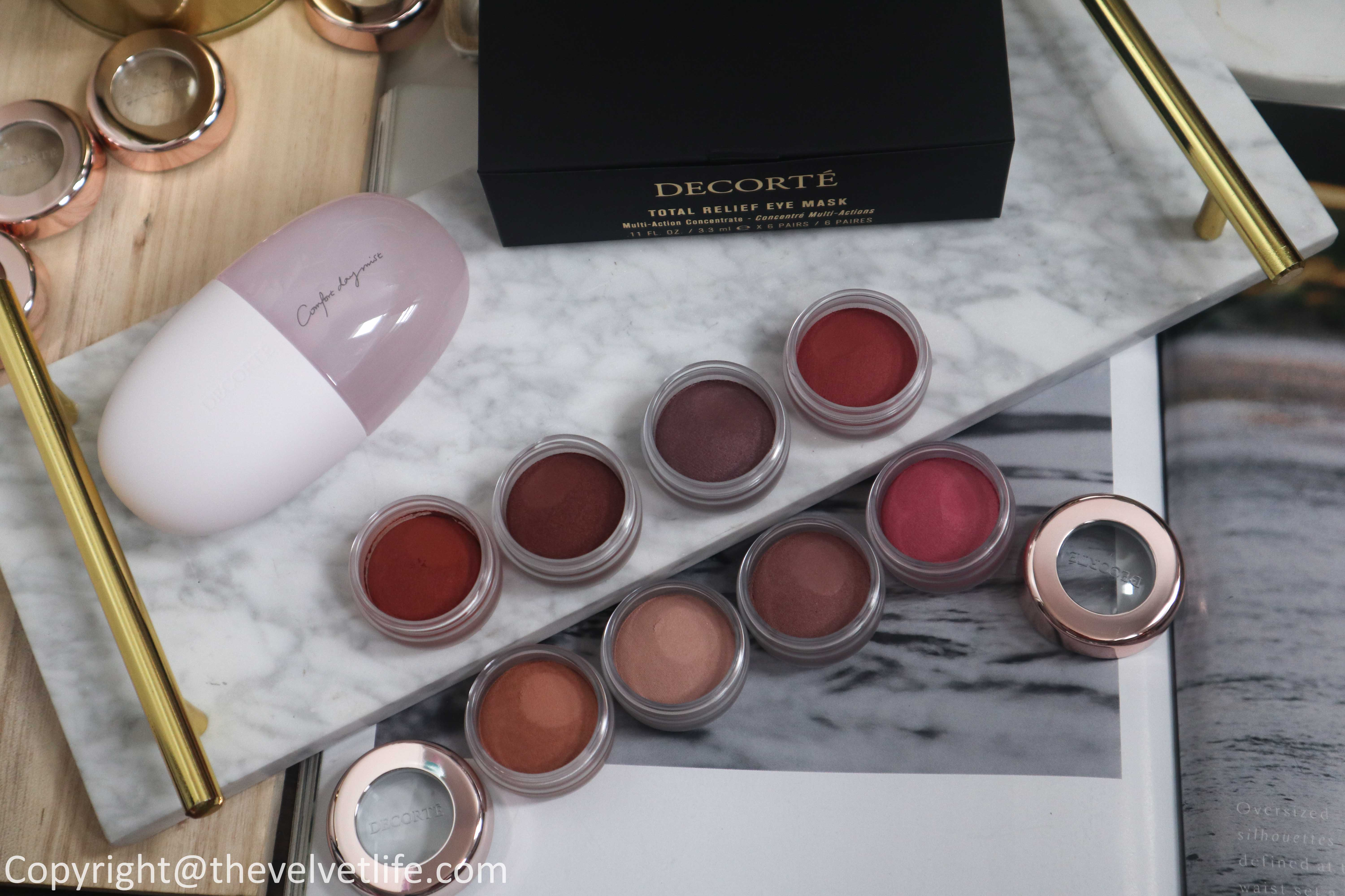 Decorte Eye Glow Gem new shades review and swatches, Decorte Comfort Day Mist