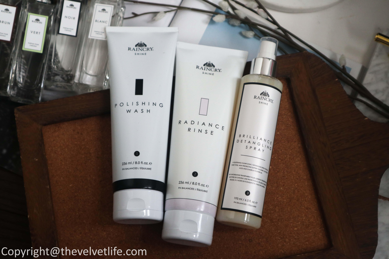 New Raincry Advanced Hair Mist review of Polishing Wash, Radiance Rinse, Brilliance Detangling Spray