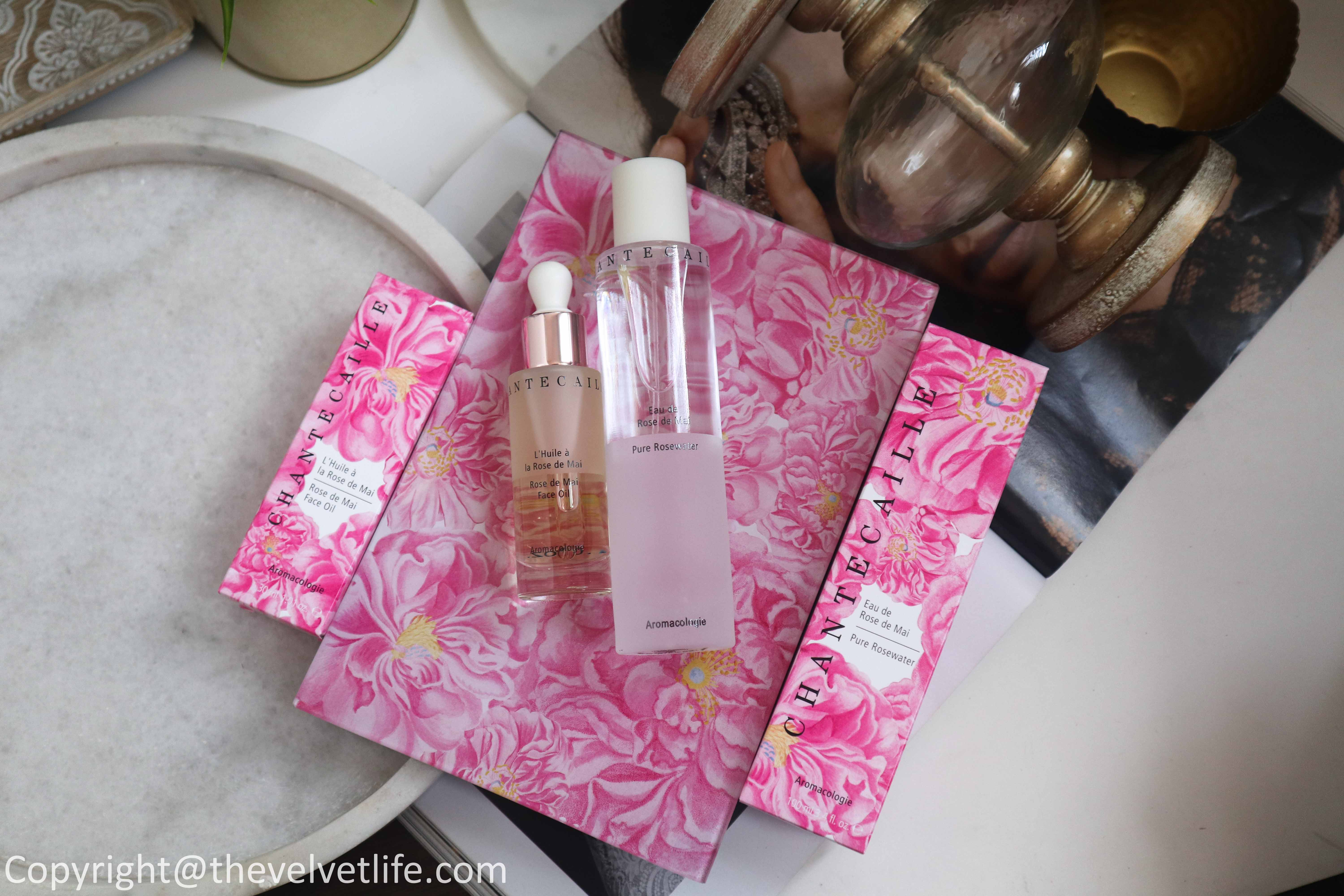 Review of the new John Derian x Chantecaille Rose de Mai Harvest Set which includes Pure rosewater, Rose de Mai face oil, Rose de mai harvest tray