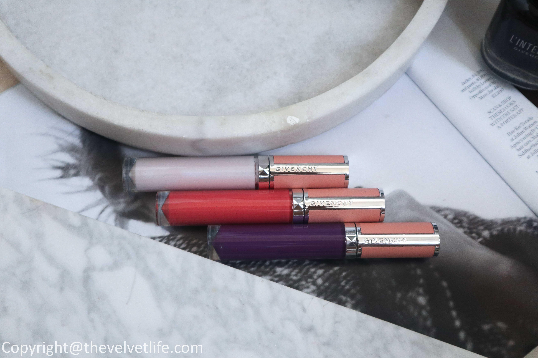New Givenchy Le Rose Perfecto Liquid Lip Balm, Prisme Libre, review swatches, Teint Couture City Balm, Le Rouge Deep Velvet Matte Lipstick