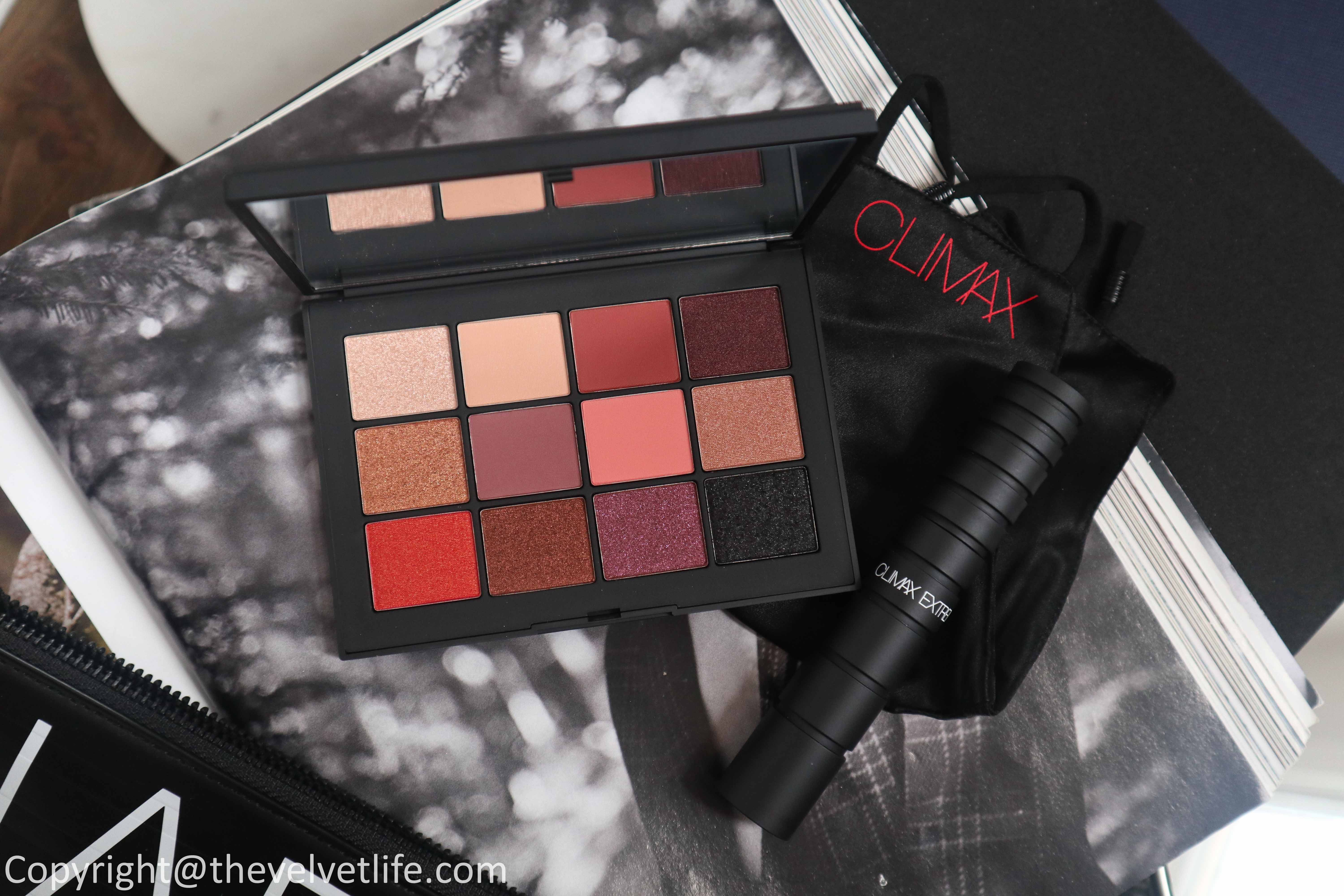 Nars Extreme Effects Eyeshadow Palette review swatches, Climax Extreme Mascara