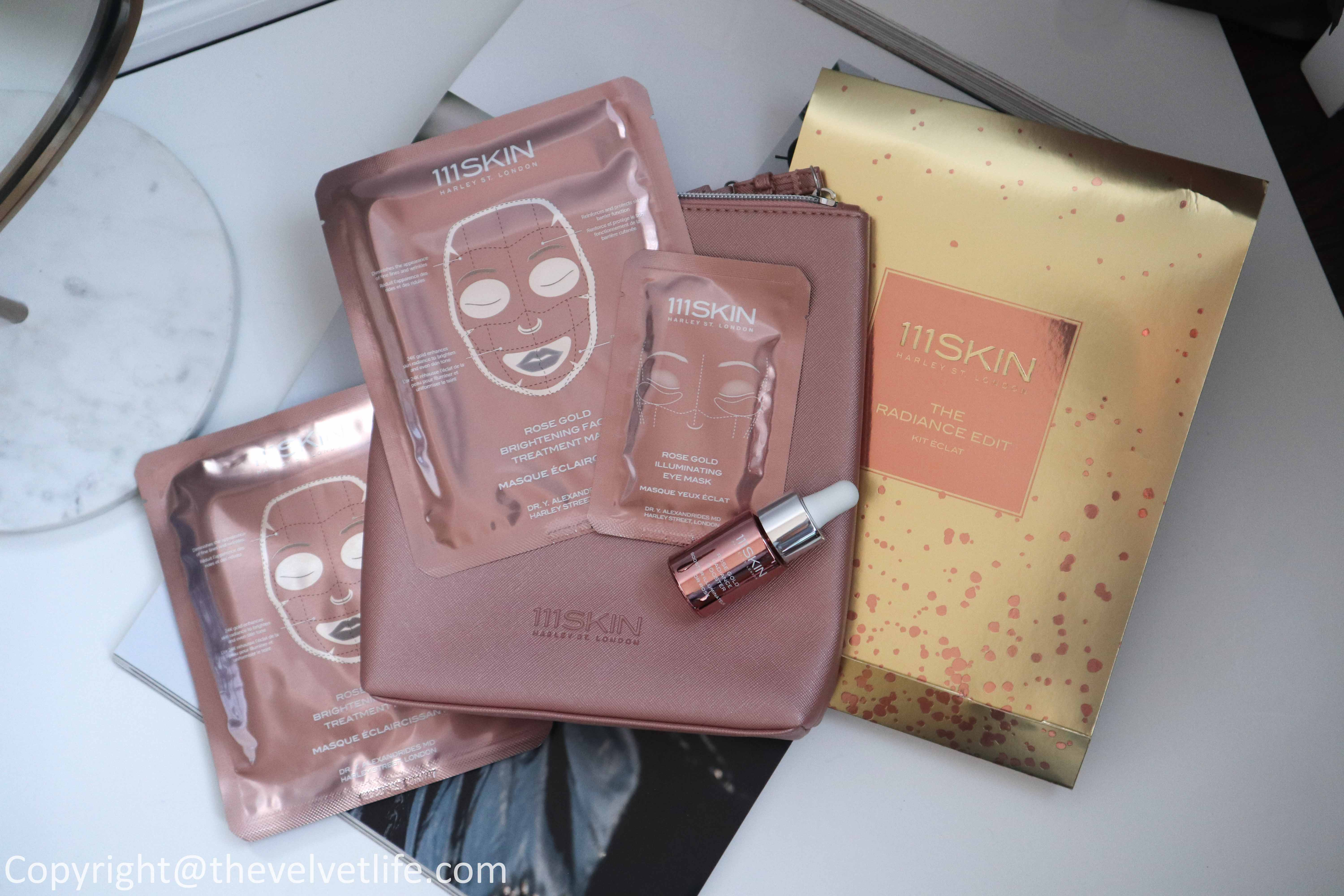 111Skin review The Intensive Kit Vitamin C Brightening Booster, Celestial Black Diamond Lifting and Firming Treatment Mask, 111Skin The Radiance Kit Rose Gold Illuminating Eye Mask, Rose Gold Brightening Facial Treatment Mask, Rose Gold Radiance Booster