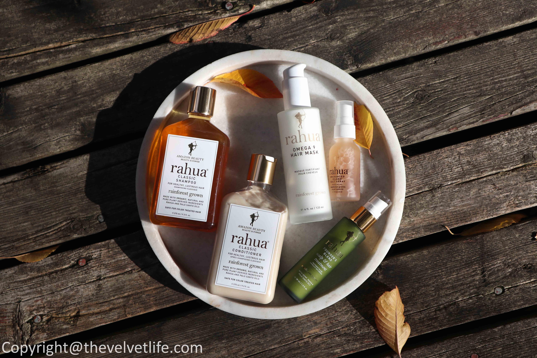 Rahua Classic Shampoo, Classic Conditioner review Rahua Founder's Blend, Omega 9 Hair Mask, and Enchanted Island Salt Spray