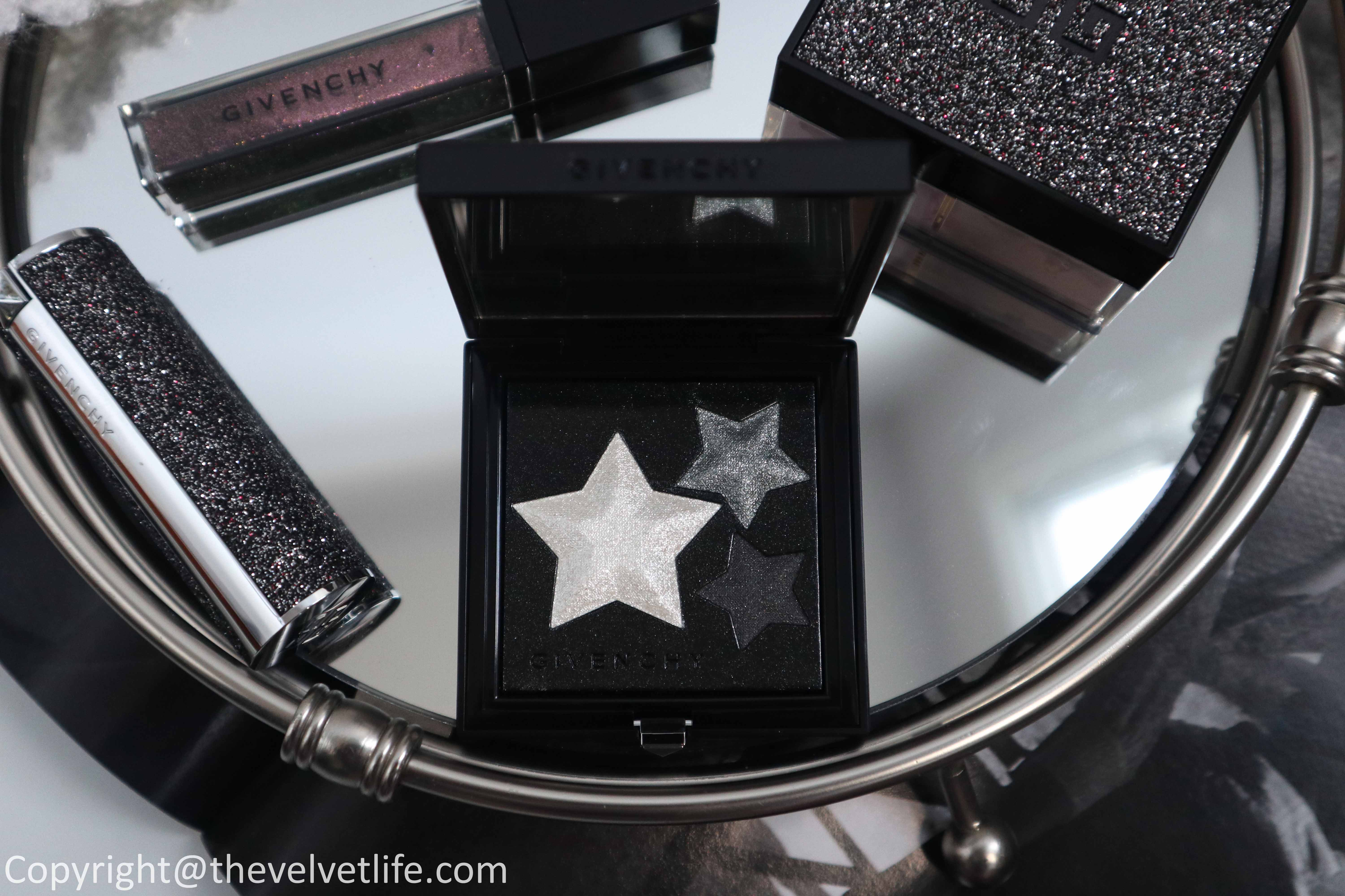 Givenchy holiday 2020 makeup collection review swatches Black To Light Palette, Prisme Libre Loose Powder, Le Rouge, Le Rouge Deep Velvet, and L'interdit Lip Top Coat