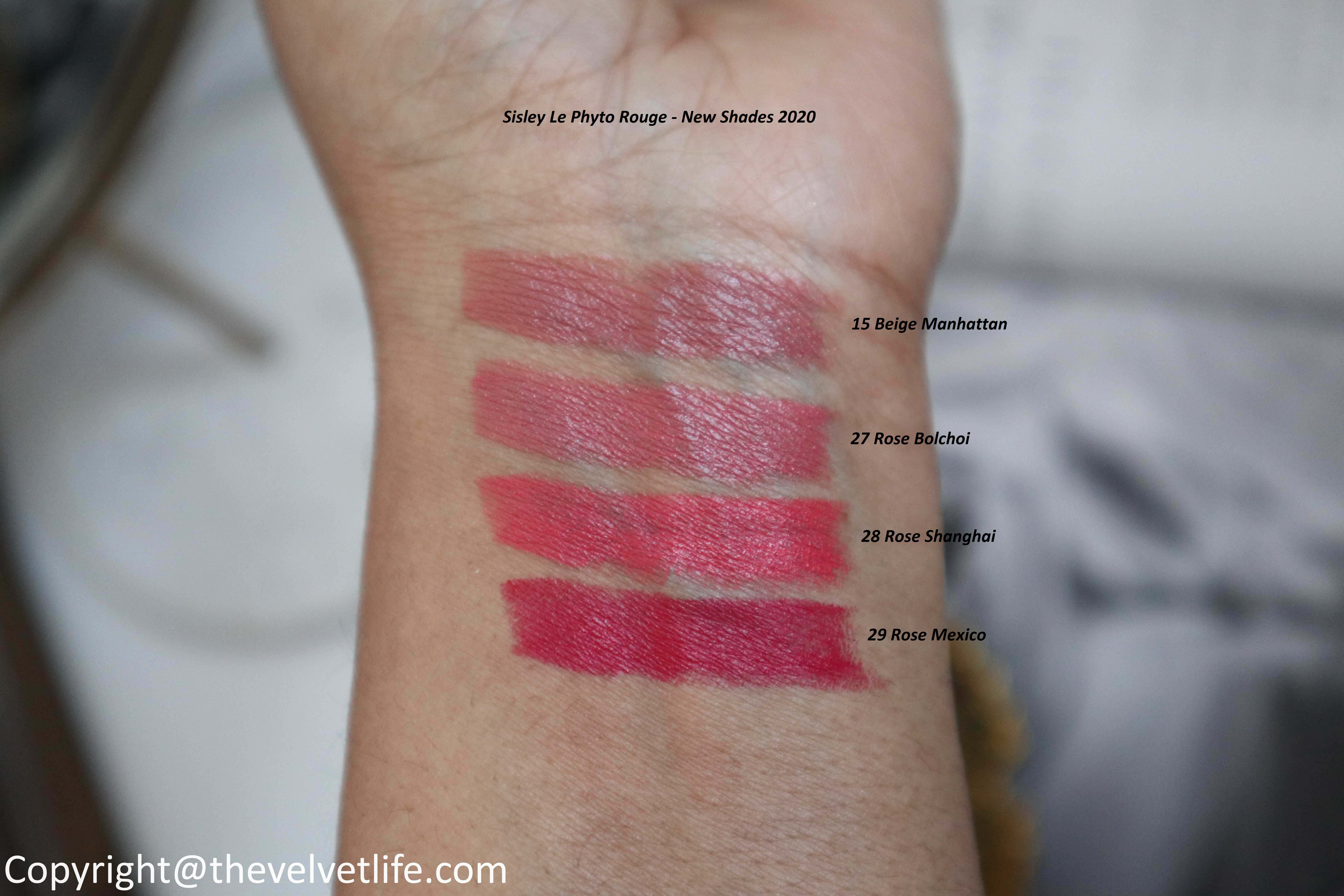 Sisley Le Phyto Rouge New review swatches 15 Beige Manhattan, 27 Rose Bolchoi, 28 Rose Shanghai, 29 Rose Mexico