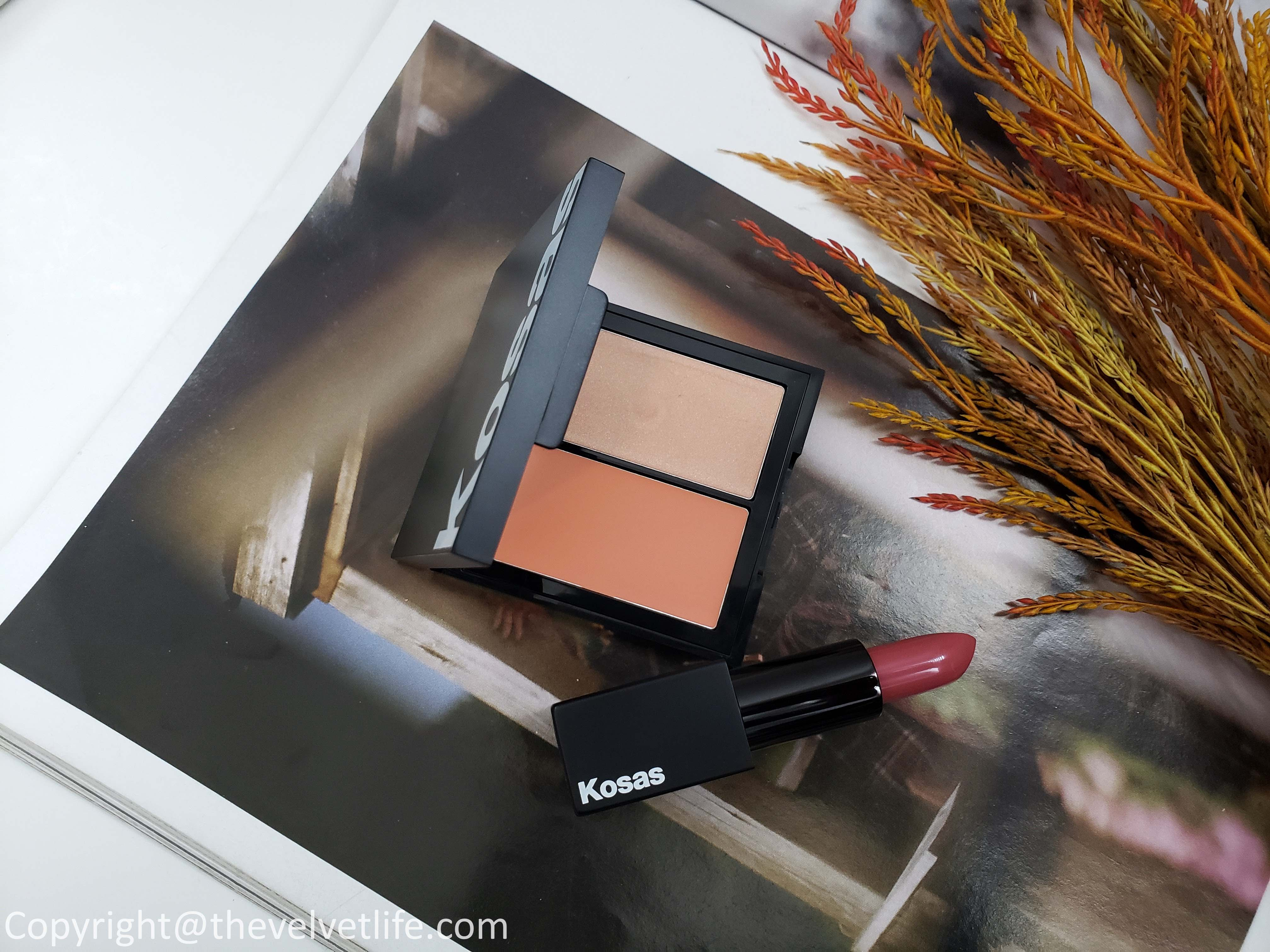 Kosas makeup review Revealer Concealer, The Big Clean Mascara, Weightless Lipstick Rosewater, and Color & Light Palette - Cream in Velvet Melon